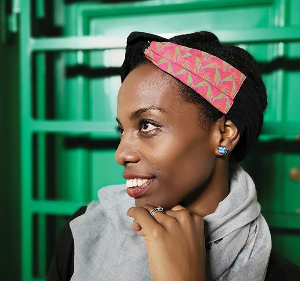 Velvet wire headband with shweshwe detail