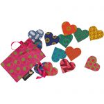 5 shweshwe heart magnets in a gift bag
