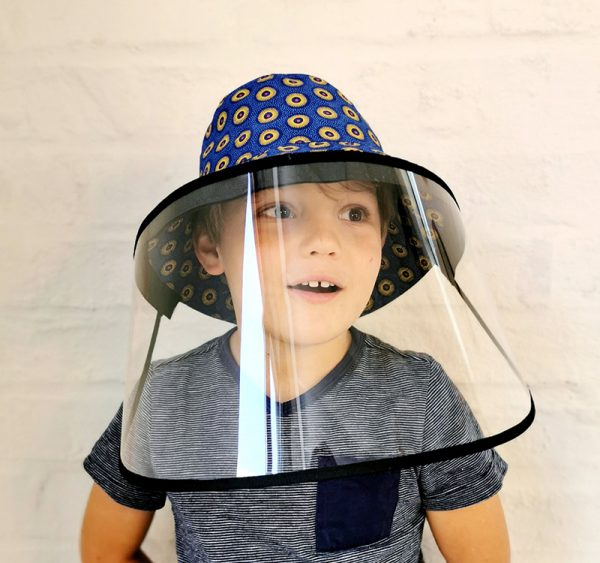 Shweshwe bucket hat with removable face shield